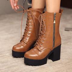 Női Műbőr Chunky sarok Mid-Calf Csizma Kerek lábujj -Val Lace-up cipő
