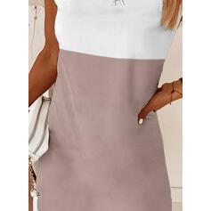 Color-block Krátké rukávy Splývavé Nad kolena Neformální Tunika Šaty