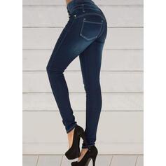 Shirred Elegant Sexy Skinny Denim & Jeans