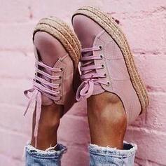 Frauen Leinwand Low Top Sneakers mit Zuschnüren Schuhe