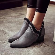 Pentru Femei Imitaţie de Piele Toc gros Închis la vârf Cizme Botine cu Nit pantofi