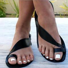 PU Sem salto Sandálias Sem salto Peep toe Chinelos Anel de dedo do pé com Outros sapatos
