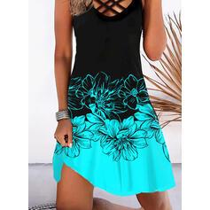 Imprimeu/Floral/Renkli klişe Kolsuz Shift Elbiseleri Până la Genunchi Tatil Elbiseler
