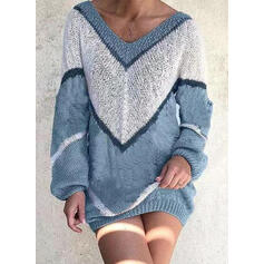 Wyszczuplająca Długie rękawy Bodycon Nad kolana Casual Sweter Sukienki