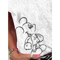 Djur Round Neck Korta ärmar Fritids T-shirts