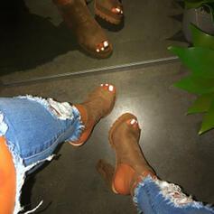 замша Толстый каблук Насосы Peep Toe с Рисунок животного Цвет соединения обувь