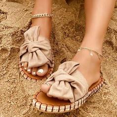 Mulheres Pano Sem salto Sandálias Chinelos com Bowknot Cor sólida sapatos