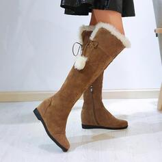 Pentru Femei Piele de Căprioară Fară Toc Cizme până la genunchi Deget rotund cu Lace-up pantofi