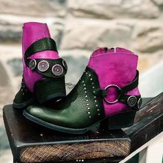 De mujer PU Tacón ancho Botas con Hebilla Cremallera zapatos