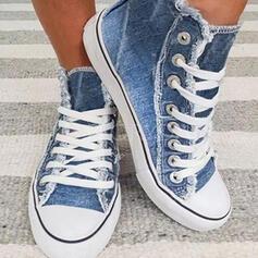 Квартиры Низкая вершина Круглый носок эспадрильи с Зашнуровать обувь