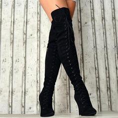 Női Szarvasbőr Tűsarok Csizma -Val Cipzár Lace-up Szolid szín cipő