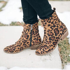 Women's Suede Chunky Heel Ankle Boots With Lace-up Solid Color shoes