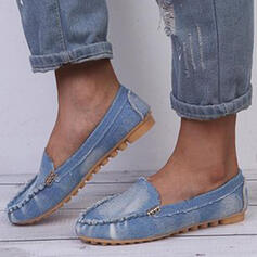 De mujer PU Tacón plano Planos Encaje Mocasines Ponerse con Velcro Color sólido zapatos