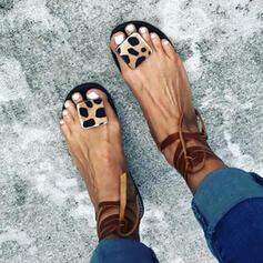 Dla kobiet PU Płaski Obcas Sandały Otwarty Nosek Buta Z Sznurowanie obuwie