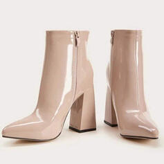 Women's PU Chunky Heel Pointed Toe Martin Boots With Zipper Solid Color shoes