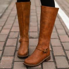 Mulheres PU Salto robusto Botas Bota no joelho com Fivela Zíper Cor sólida sapatos