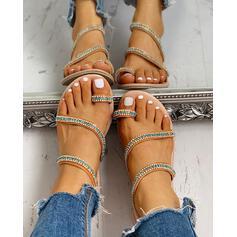Kvinnor PU Flat Heel Sandaler Peep Toe Tofflor med Strass skor
