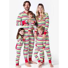 Çizgili Imprimeu Aile Eşleşen Noel Pijamaları