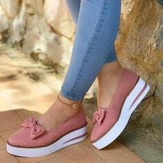 Frauen PU Niederiger Absatz Flache Schuhe Geschlossene Zehe mit Bowknot Schuhe