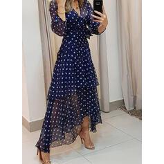 PolkaDot 3/4 Sleeves A-line Casual/Elegant Maxi Dresses