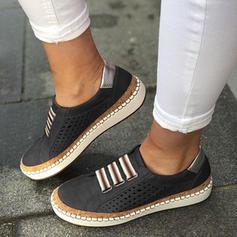 Kvinner PU Flat Hæl Flate sko Lukket Tå med Hul ut sko