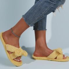 Плоский каблук Сандалии Квартиры Peep Toe Домашние тапочки с Bowknot Сплошной цвет обувь