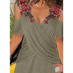 вышивка Цветочный Холодный прием С коротким рукавом Повседневная Блузы