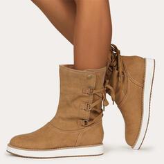 De mujer Cuero Tacón plano Botas Botas longitud media Encaje con Hebilla Cordones Color sólido zapatos