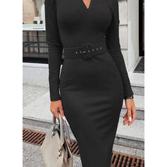 Solid Long Sleeves Bodycon Pencil Little Black/Elegant Midi Dresses