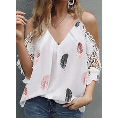 Распечатать кружевной Холодный прием Рукава 3/4 элегантный Блузы
