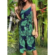 Estampado/Floral Sem mangas Evasê Comprimento do joelho Casual/Férias Alça fina Vestidos