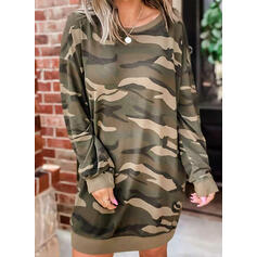 Print/Camouflage Long Sleeves Shift Above Knee Casual Sweatshirt Dresses