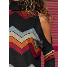 Striped High Neck Long Sleeves Casual T-shirts