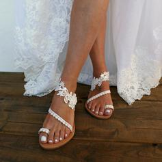 Bayanlar suni deri Düz topuk Sandalet Flats Toe Ring Ile Dikiş dantel Çiçek ayakkabı