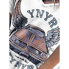 Nadruk Odkryte ramię Krótkie rękawy Casual Bluzki