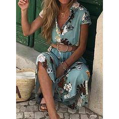 Impresión/Floral Manga Corta Acampanado Camisa Casual/Vacaciones Maxi Vestidos