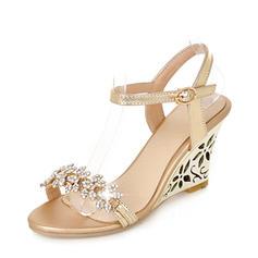 De mujer PU Tipo de tacón Sandalias Salón Cuñas Encaje Solo correa con Rhinestone zapatos