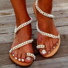 Bayanlar PVC Düz topuk Sandalet Flats Toe Ring Ile Yapay elmas yapay İnci Oymak ayakkabı