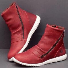 Női PU Lapos sarok Bokacsizma Kerek lábujj -Val Cipzár Szolid szín cipő