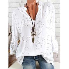 Blomstrete V-hals Lange ermer Casual Elegant Skjortebluser