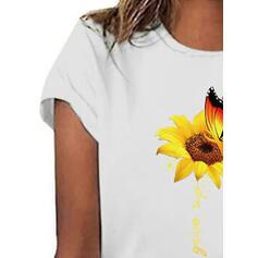 Padrão Animal Impressão do girassol Gola Redonda Manga Curta Casual Camisetas