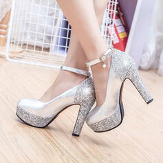 Women's Leatherette Chunky Heel Pumps Platform Closed Toe With Sparkling Glitter shoes