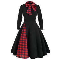 Plaid Long Sleeves A-line Knee Length Casual Dresses