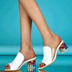 Pentru Femei PU Toc gros Sandale Puţin decupat în faţă Şlapi cu Altele pantofi