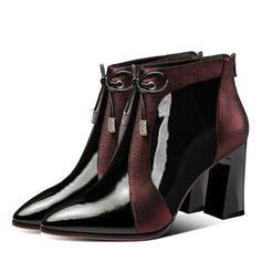 Kvinner PU Stiletto Hæl Stor Hæl Ankelstøvler med Blondér sko
