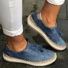 Femmes PU Talon plat Chaussures plates Low Top bout rond avec Ouvertes Tassel Couleur unie chaussures