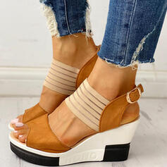Donna PU Zeppe Sandalo con Fibbia scarpe