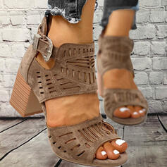 Dla kobiet PU Obcas Slupek Sandały Otwarty Nosek Buta Z Klamra Tkanina Wypalana obuwie