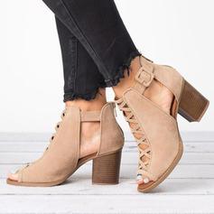 Frauen Stoff Stämmiger Absatz Stiefelette mit Schnalle Hohl-out Schuhe