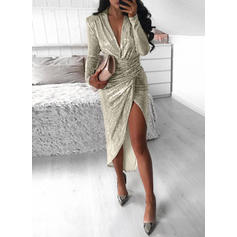 Solid Long Sleeves Sheath Asymmetrical Party/Elegant Dresses